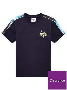 hype-boys-lightening-panel-short-sleeve-t-shirt-navy