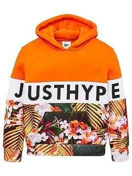 hype-boys-palm-colour-block-hoodie-orange
