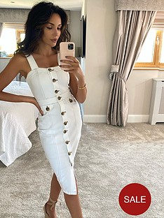 michelle-keegan-contrast-stitch-denim-pencil-dress-white