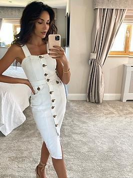 Michelle Keegan Michelle Keegan Contrast Stitch Denim Pencil Dress - White Picture