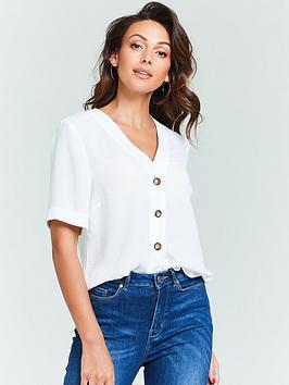 michelle-keegan-turnback-cuff-casual-blouse-white