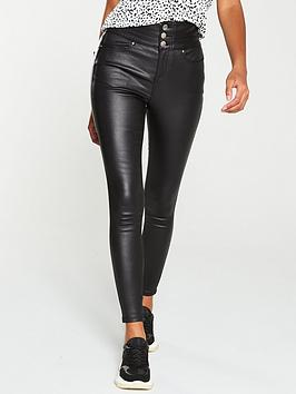 V by Very V By Very Macy High Waist Coated Skinny Jean - Black Picture
