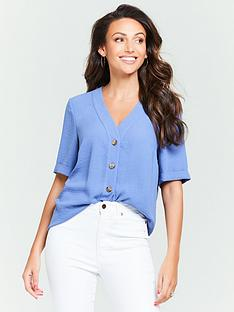 michelle-keegan-turnback-cuff-casual-blouse-denim-blue