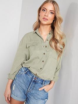 miss-selfridge-tencel-utility-shirt