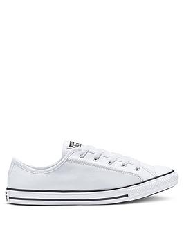 Converse Converse Chuck Taylor All Star Leather Dainty Ox Plimsolls - White Picture