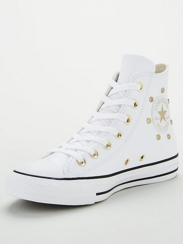White Leather Stud Converse