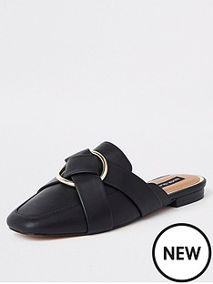 c8bd802a958 River Island River Island Wide Fit Backless Loafer - Black