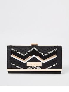 river-island-river-island-panelled-cliptop-purse-black