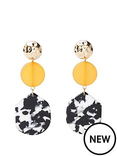 river-island-river-island-mono-print-drop-circle-earrings-gold