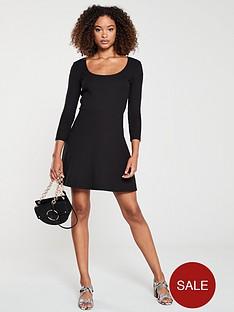 v-by-very-ribbed-skater-mini-dress-black