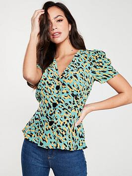 river-island-river-island-leopard-print-button-through-tea-blouse--turquoise