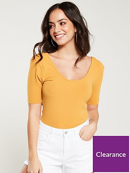 v-by-very-scooped-front-and-back-top-mustard