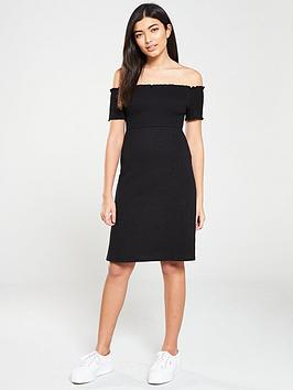 v-by-very-jersey-ruched-mini-dress-black
