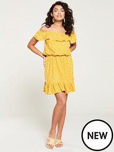 v-by-very-bardot-jersey-mini-frill-dress-mustard