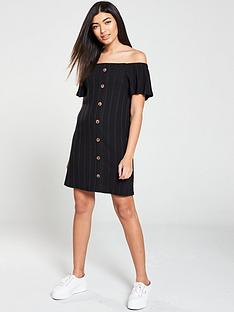 v-by-very-button-through-off-the-shoulder-mini-dress-black