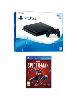 Playstation 4   500Gb Ps4 Black 500Gb Console With Marvel'S Spider-Man