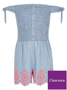 river-island-girls-shirred-denim-playsuit-blue