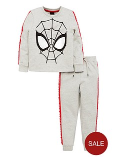 spiderman-boys-long-sleeve-jersey-top-amp-jogger-set-grey