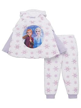 Disney Frozen Disney Frozen Girls 3 Piece Cosy Snowflake Poncho And Pyjama  ... Picture