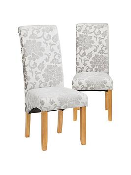 Very Pair Of Oxford Fabric Dining Chairs- Silver Picture