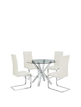 Very  Chopstick 100 Cm Round Glass Dining Table + 4 Chairs