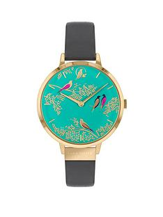 sara-miller-chelsea-turquoise-and-gold-detail-34mm-dial-grey-leather-strap-ladies-watch