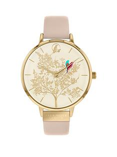 sara-miller-chelsea-white-and-gold-detail-love-birds-38mm-dial-nude-leather-strap-ladies-watch-nude