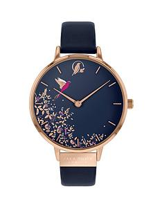 sara-miller-sara-miller-chelsea-navy-and-rose-gold-hummingbird-38mm-dial-navy-leather-strap-ladies-watch