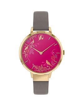 sara-miller-sara-miller-chelsea-pink-birds-and-gold-detail-34mm-dial-grey-leather-strap-ladies-watch