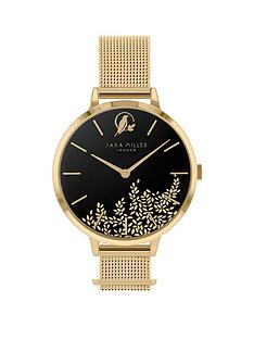 sara-miller-sara-miller-leaf-collection-black-satin-and-gold-detail-34mm-dial-gold-stainless-steel-mesh-strap-ladies-watch