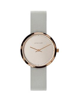 4eec76b29775 JIGSAW Jigsaw Round White Dial with Tortoise Shell Bezel and Grey Leather Strap  Ladies Watch