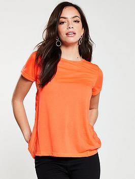 river-island-river-island-pleated-back-t-shirt--orange