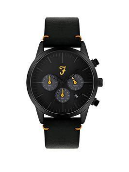 Farah Farah Farah Black And Yellow Detail Chronograph Dial Black Leather  ... Picture