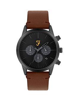 Farah Farah Farah Black And Grey Detail Chronograph Dial Brown Leather  ... Picture
