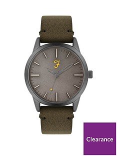 farah-farah-grey-dial-olive-green-suede-strap-mens-watch
