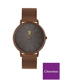farah-farah-grey-and-bronze-detail-dial-bronze-stainless-steel-mesh-strap-mens-watch