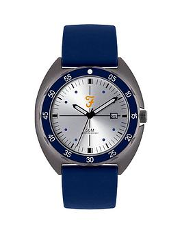 Farah Farah Farah Silver Sunray And Blue Detail Date Dial Blue Silicone  ... Picture