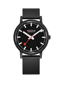 mondaine-mondaine-swiss-made-essence-sustainable-black-with-luminous-hands-41mm-dial-black-renewable-raw-material-strap-watch