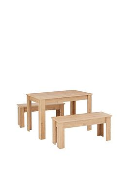 Very  Cornwall 120 Cm Dining Table And 2 Benches - Oak Effect