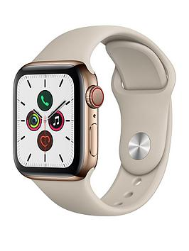Apple   Watch Series 5 (Gps + Cellular), 40Mm Gold Stainless Steel Case With Stone Sport Band