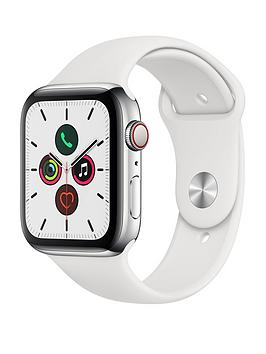 Apple   Watch Series 5 (Gps + Cellular), 44Mm Stainless Steel Case With White Sport Band