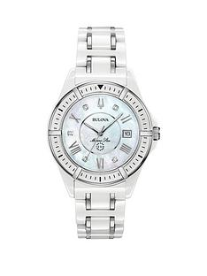 bulova-bulova-mother-of-pearl-and-diamond-set-date-dial-white-ceramic-and-silver-detail-bracelet-ladies-watch
