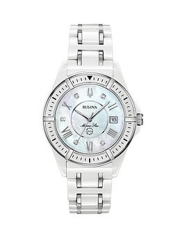 bulova-mother-of-pearl-and-diamond-set-date-dial-white-ceramic-and-silver-detail-bracelet-ladies-watch
