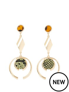 river-island-river-island-animal-print-drop-earrings-gold