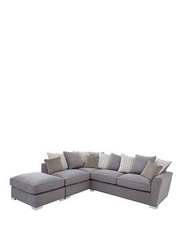 Product photograph showing Links Left Hand Corner Chaise Scatter Back Sofa With Footstool And Sofa Bed