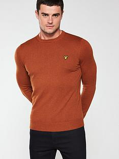 lyle-scott-crew-neck-merino-jumper-tobacco