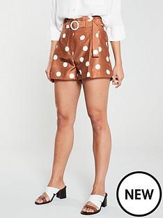 river-island-polka-spot-short--brown