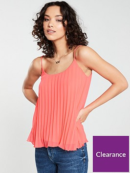 river-island-pleated-cami-top-coral