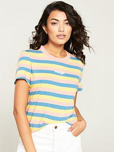 wrangler-rainbow-stripe-t-shirt-with-rib-neck-pink