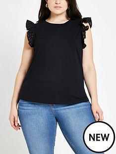 ri-plus-frill-sleeve-jersey-top--black